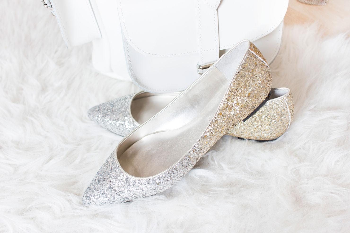 cathy couture zara ballerinas gold glitter